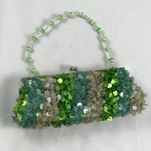 Light Green Sequin beaded vintage clutch